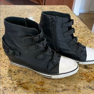 Ash Black leather ankle wedge sneakers